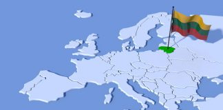 37489415 - 3d map europe lithuania flag