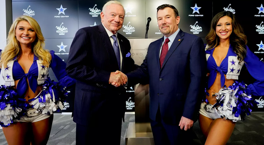 Cowboys make history, partner with casino The Dallas Cowboys became the first NFL team to have an official casino designation, announcing a partnership with WinStar World Casino and Resort .