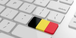 21702744 - 3d render of belgian flag button with soft focus