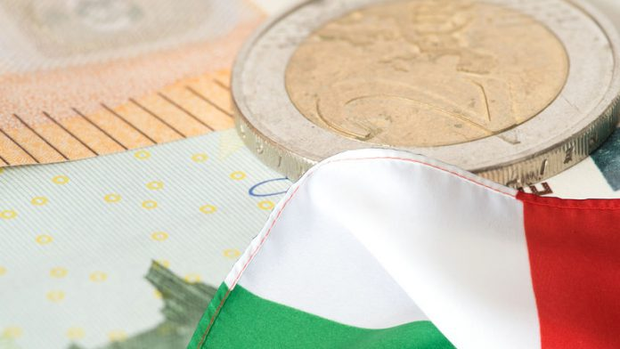 105864048 - flag of italy and euro bills and coins