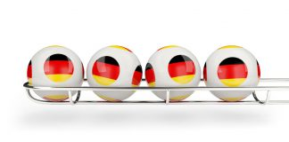 60934817 - flag of germany on lottery balls. 3d illustration