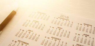 image of 2018 calendar background with pen