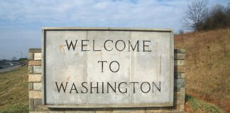 20526459 - welcome to washington state sign