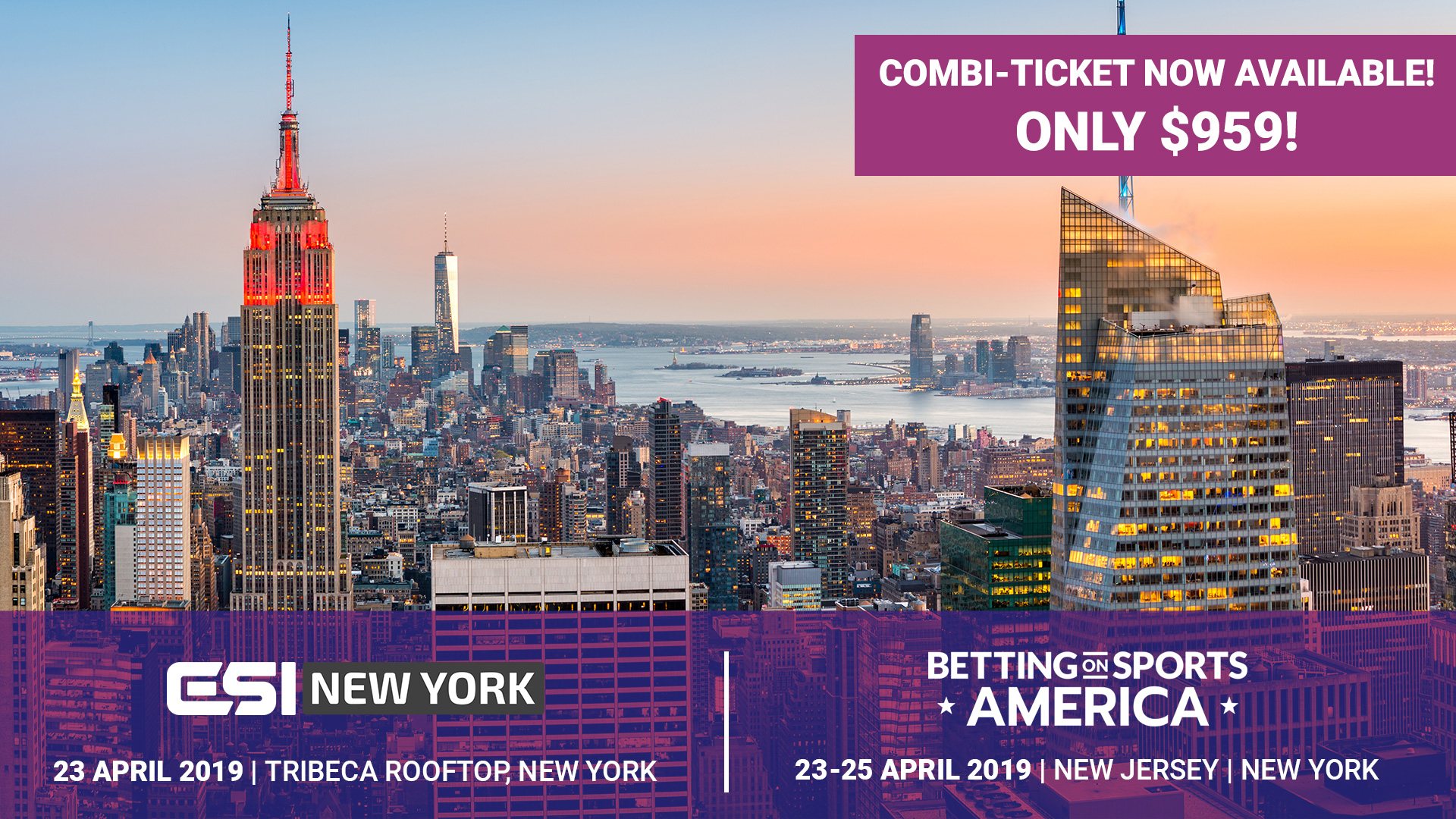 ESI NY PROMO 1920x1080px Combo - Combi-ticket for ESI New York and Betting on Sports America now available