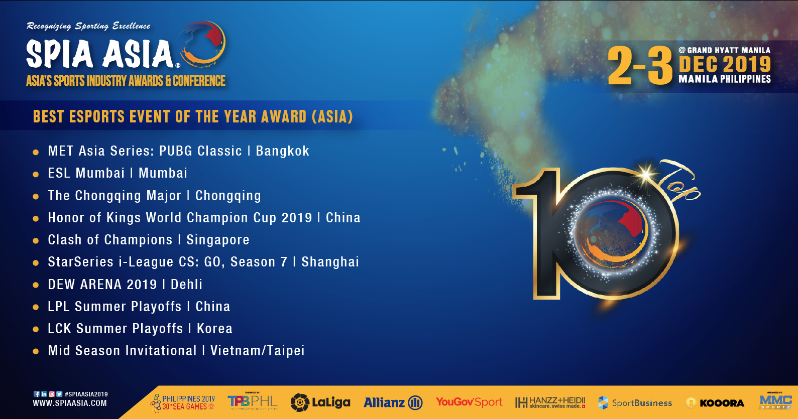 SPIA Asia Awards Best Esports Events