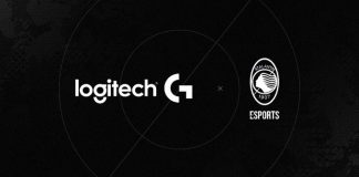 Logos for Logitech G and Atalanta football club against a black background
