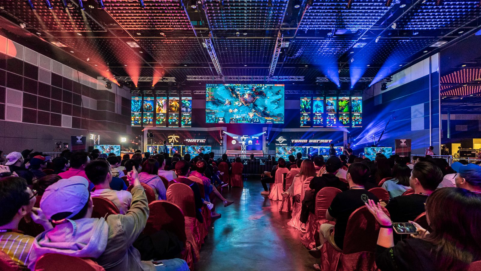 The crowd watches DOTA2 being played at the Grand Finals between Fnatic and Team Secret at Singtel's inaugural PVP Esports Championship