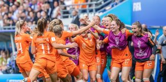 The Netherlands women's national football team celebrate together