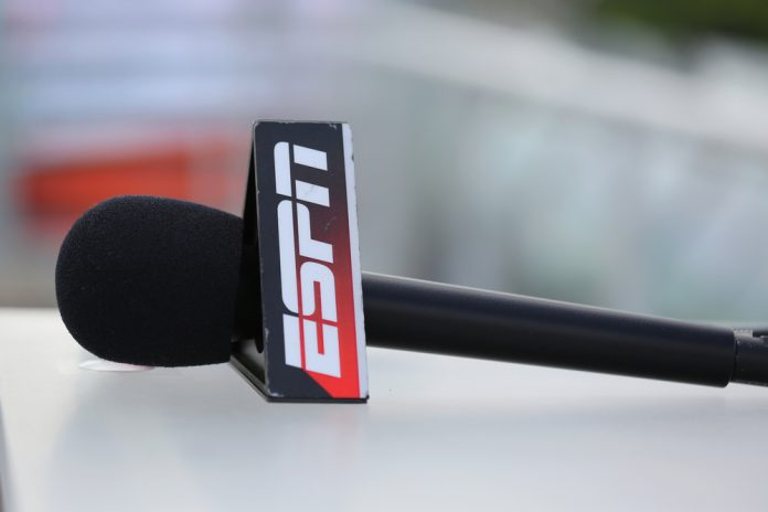 Close-up shot of ESPN microphone