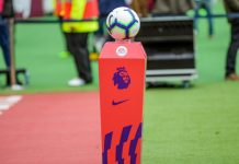 Barclays Premier League matchball stood on podium