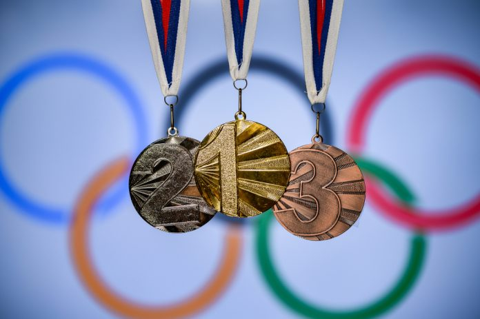 Gold, silver and bronze Olympic medals