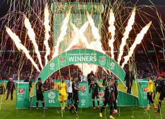 Manchester City players celebrate winning the 2020 Carabao Cup