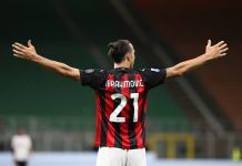 Zlatan Ibrahimović celebrates scoring for AC Milan
