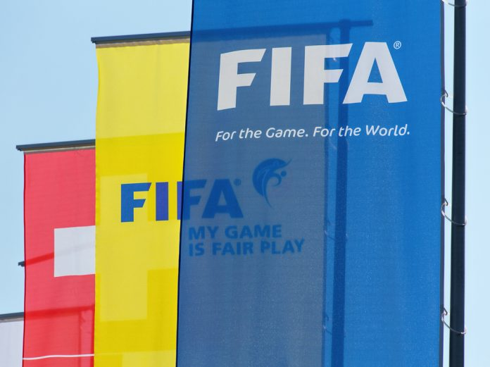Flags hanging outside the FIFA headquarters in Zurich