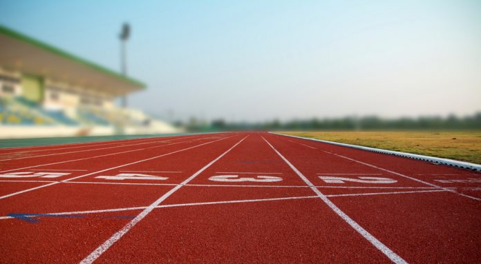 Low shot of an athletics track