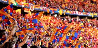 Barcelona supporters celebrate