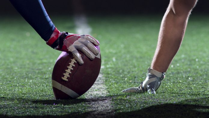 Close-up of an American football