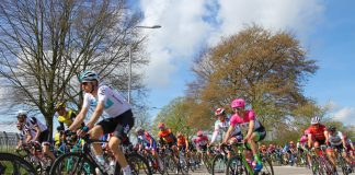 Riders compete in the 2018 edition of the Amstel Gold Race