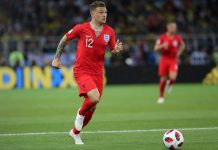 England full-back Kieran Trippier in action for the Three Lions