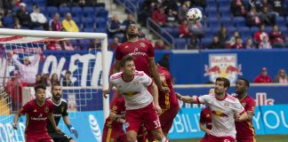 Real Salt Lake players battle for the ball