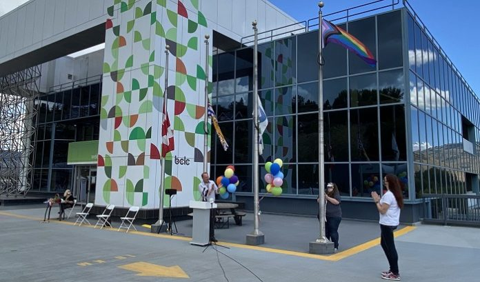 The British Columbia Lottery Corporation (BCLC) is celebrating Pride Month 2021 by raising the Progress flag outside its Kamloops headquarters.