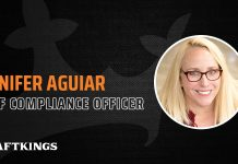 DraftKings has named Jennifer Aguiar as its new Chief Compliance Officer. She will report directly to DraftKings' co-founder, CEO and Chairman Jason Robins.