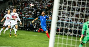 62166282 - borisov - belarus, september 2016 : france national football team in match of world cup qual. uefa group a. between belarus and france at the borisov-arena on september 6, 2016 in borisov.