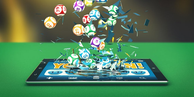 MuchBetter - 52232125 - tablet pc with a lottery app and lottery balls coming out by breaking the glass (3d render)