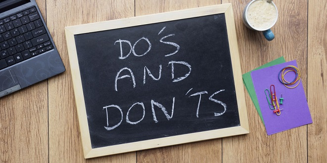 ICE - Do's and don'ts written on a chalkboard at the office