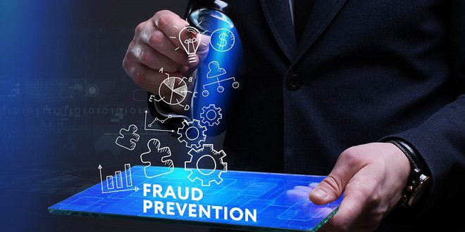 iovation - Business, Technology, Internet and network concept. Young businessman working on a virtual screen of the future and sees the inscription: Fraud prevention