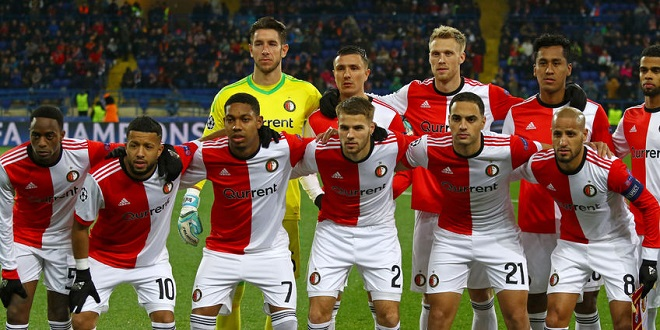 KHARKIV, UKRAINE - NOVEMBER 1, 2017: Feyenoord players pose for a group photo before UEFA Champions League game against Shakhtar Donetsk at OSK Metalist stadium in Kharkiv, Ukraine