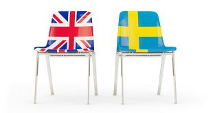 LeoVegas - Two chairs with flags of UK and sweden isolated on white. 3D illustration