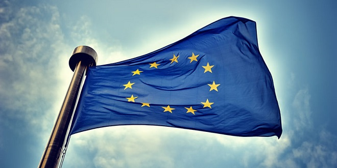 STS - European Union flag on blue sky background