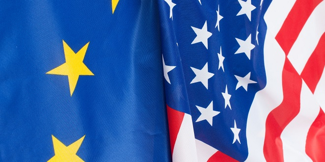 US market - Closeup of Flags of USA and European Union