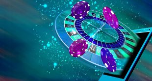 H5G - 61397191 - mobile casino or roulette and casino coins flying out from a mobile