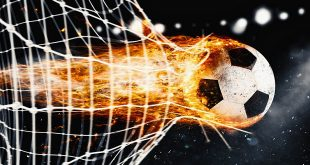 1xBet - Professional soccer fireball leaves trails of flames and scores a goal on the net