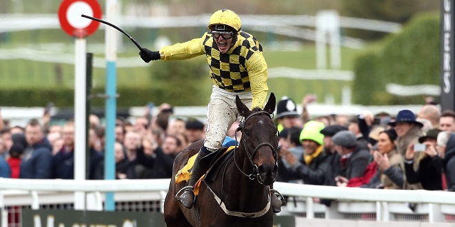 File photo dated 15-03-2019 of Jockey Paul Townend celebrates his victory in the Magners Cheltenham Gold Cup Chase on Al Boum Photo during Gold Cup Day of the 2019 Cheltenham Festival at Cheltenham Racecourse.