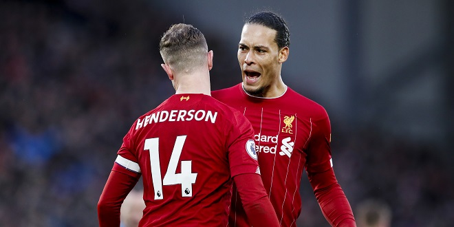 Simulated Reality - Jordan Henderson of Liverpool celebrates with Virgil Van Dijk after scoring the second goal of the game during the Premier League match at Anfield, Liverpool. Picture date: 1st February 2020. Picture credit should read: James Wilson/Sportimage via PA Images