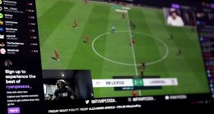 EveryMatrix - Trent Alexander-Arnold (bottom left) during his FIFA 20 match against esports player Ryan Pessoa streamed via Twitch TV.