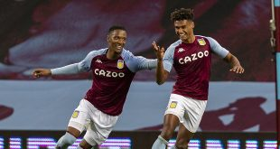 "bookies - (201005) -- BIRMINGHAM, Oct. 5, 2020 (Xinhua) -- Aston Villa's Ollie Watkins (R) celebrates after scoring his hat-trick goal during the English Premier League match between Aston Villa and Liverpool at Villa Park in Birmingham, Britain, on Oct. 4, 2020. (Xinhua) FOR EDITORIAL USE ONLY. NOT FOR SALE FOR MARKETING OR ADVERTISING CAMPAIGNS. NO USE WITH UNAUTHORIZED AUDIO, VIDEO, DATA, FIXTURE LISTS, CLUB/LEAGUE LOGOS OR ""LIVE"" SERVICES. ONLINE IN-MATCH USE LIMITED TO 45 IMAGES, NO VIDEO EMULATION. SUN OUT. NO USE IN BETTING, GAMES OR SINGLE CLUB/LEAGUE/PLAYER PUBLICATIONS."