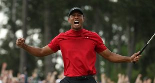 Masters - May 31, 2019 - USA - Tiger Woods celebrates after winning the Masters last month, his fifth title at Augusta National and his 15th major championship. (Credit Image: © TNS via ZUMA Wire)