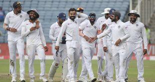 Paytm - Virat Kohli of India (c) leads of his victorious team during Day Four of the Second Test of the 2019 International Series between India and South Africa at the Maharashtra Cricket Association Stadium in Pune, India on 12 October 2019. ©Gavin Barker/BackpagePix