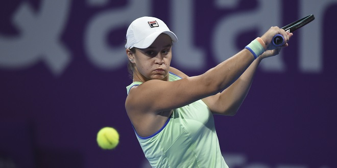 WTA - (200229) -- DOHA, Feb. 29, 2020 (Xinhua) -- Ashleigh Barty of Australia hits a return during the women's singles semi-final match against Petra Kvitova of the Czech Republic at the 2020 WTA Qatar Open in Doha, Qatar, Feb. 28, 2020. (Photo by Nikku/Xinhua)