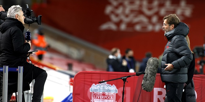 Liverpool manager Jurgen Klopp is interviewed by BT Sports Des Kelly before the UEFA Champions League Group D match at Anfield, Liverpool.