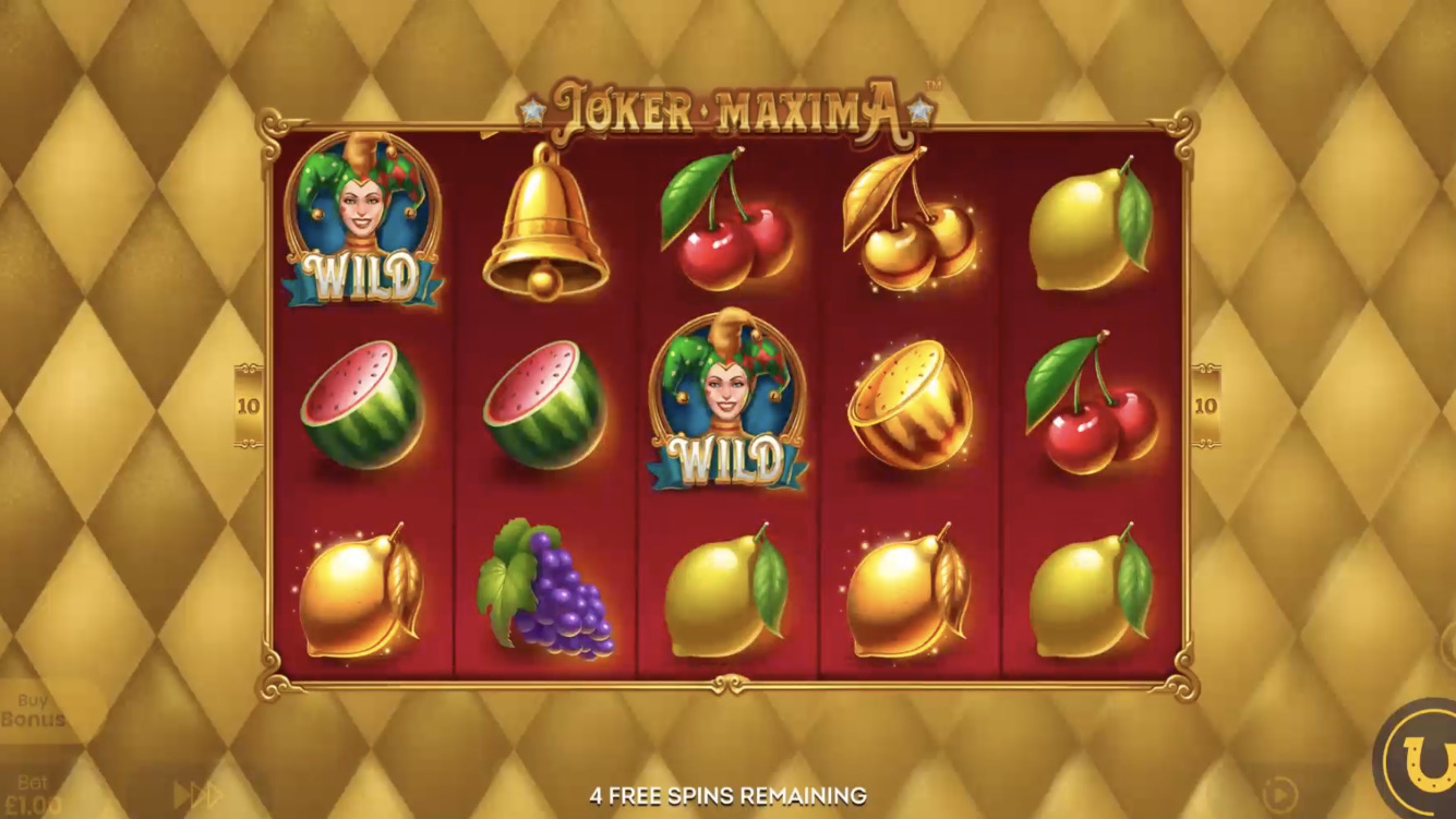 Grid for Lucksome's latest slot title Joker Maxima, powered y Blueprint Gaming