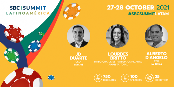 The first 20 speakers for SBC Latinoamérica includes Betcris, La Tinka, Retabet, Betsson, Apuesta Total, and Rush Street Interactive.