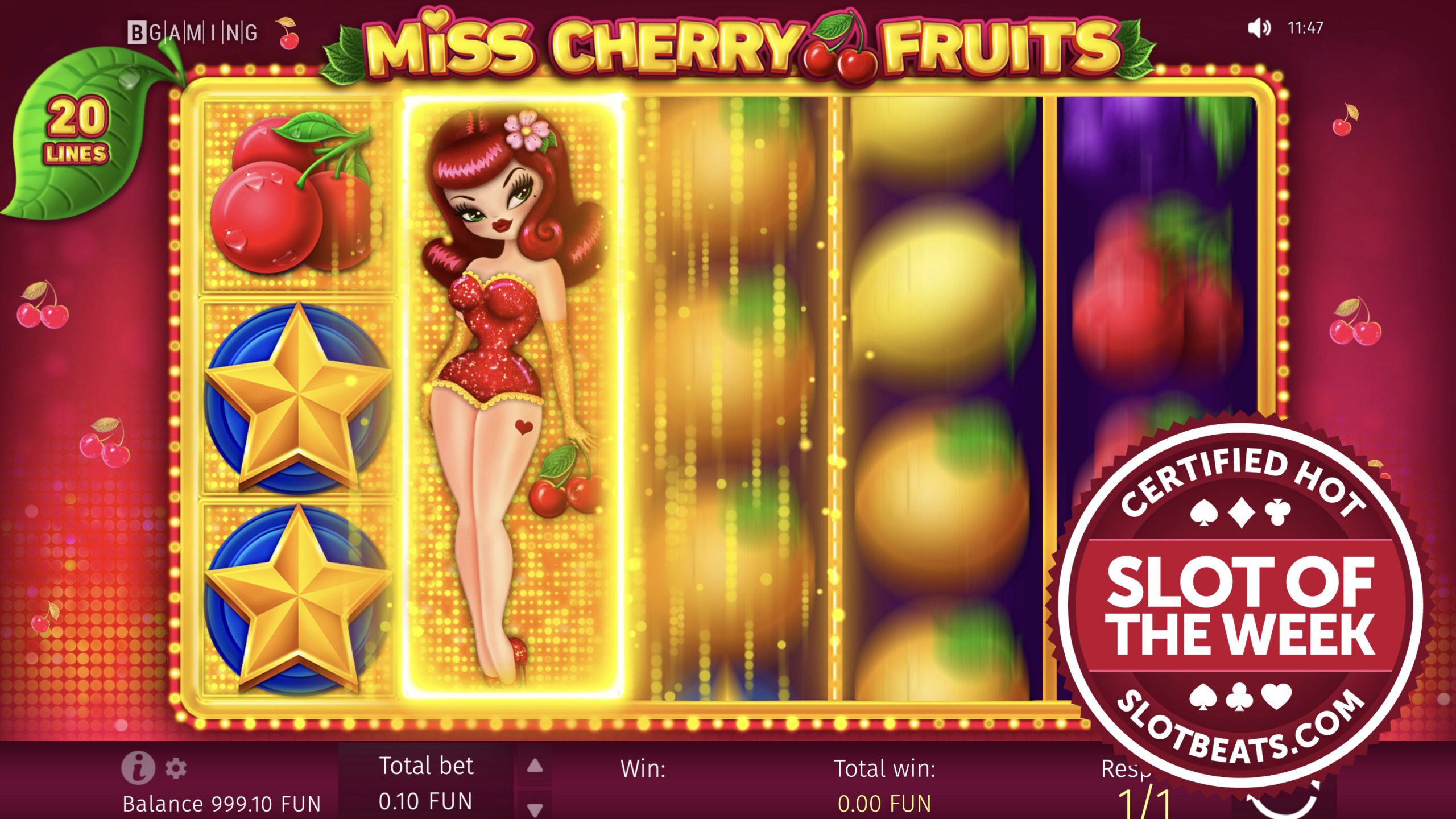 """BGaming has claimed this week's Slot of the Week award with its all-new """"traditional-style"""" slot title, Miss Cherry Fruits."""