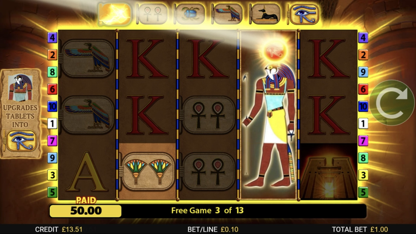 Eye of Horus: The Golden Tablet is a 5x3,10-payline slot with features including expanding wilds, free games and upgrading symbols.