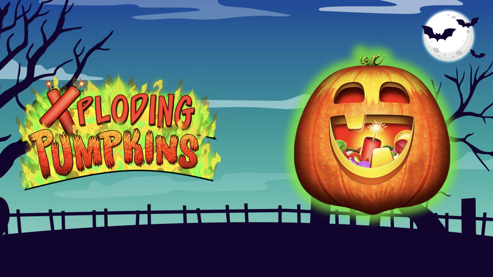 Xploding Pumpkins is a 5x3, 10-payline cascading slot with features including exploding pumpkin wilds and two gamble features.